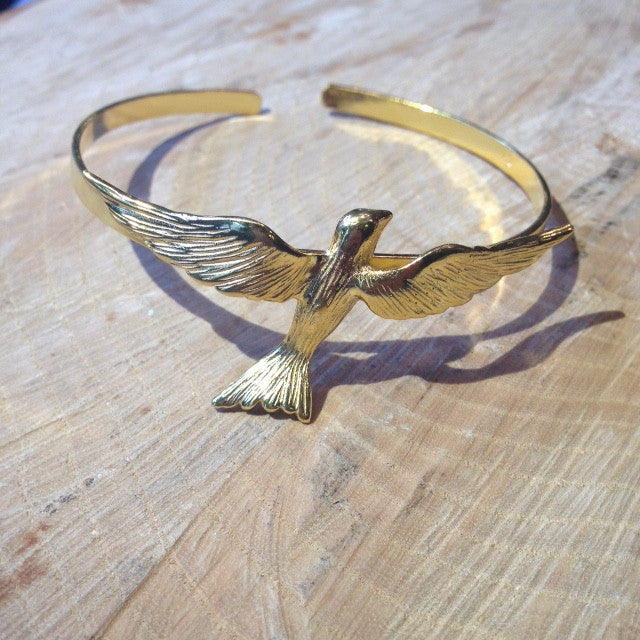 CollardManson 925 silver flying bird bangle-gold plated