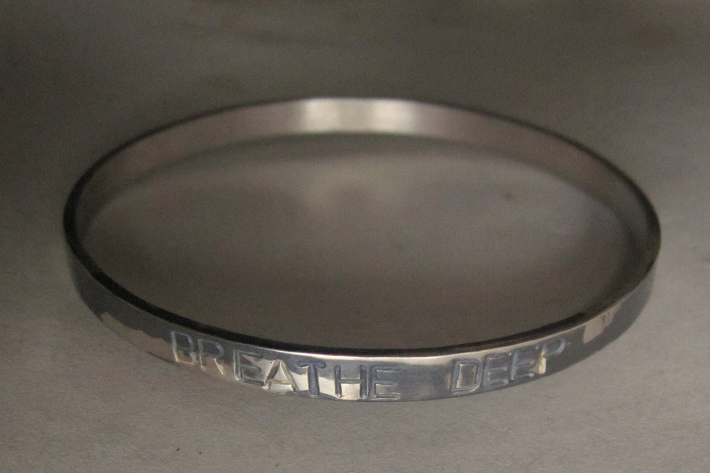 WDTS Sheffield Silver - Hand Hammered Bangle - BREATHE DEEP - Mixed Finish