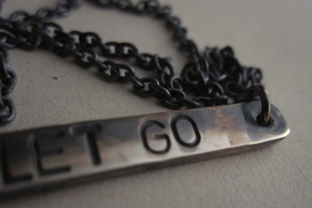 WDTS Sheffield Silver - Hand Hammered Short Necklace - JUST LET GO - Mixed Finish