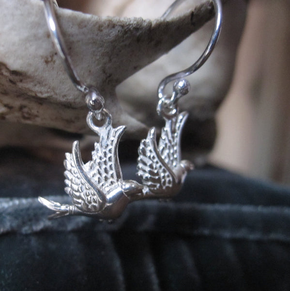 CollardManson 925 Silver Little Bird Earrings