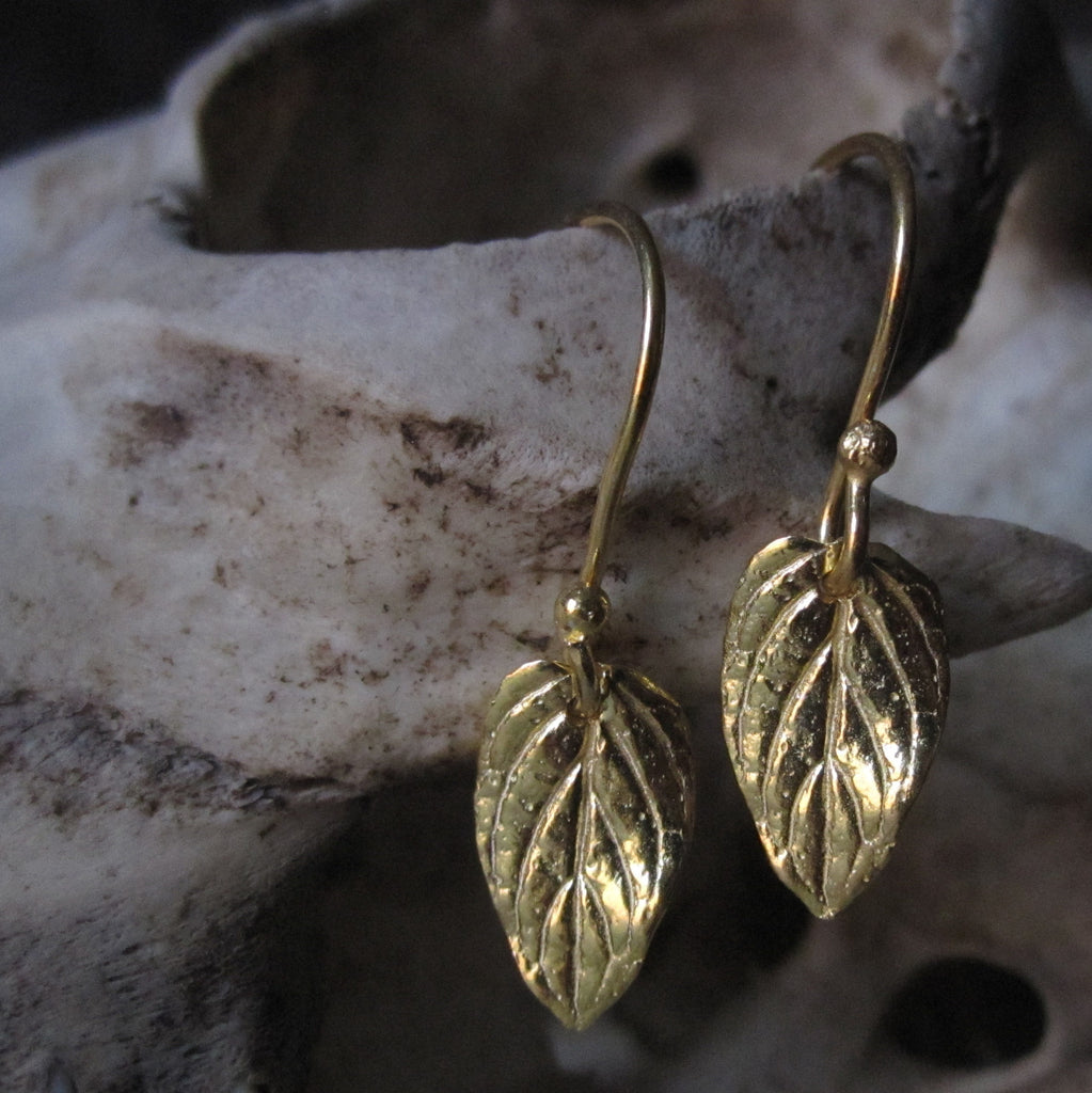 CollardManson 925 Silver Small Leaf Earrings- gold
