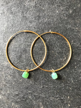 925 Silver Chrysophrase Hoop Earrings - Gold