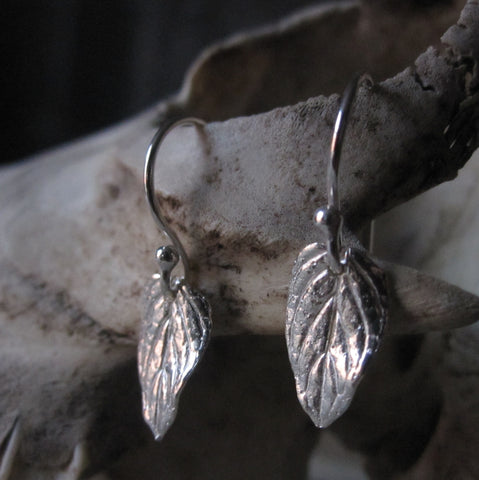 CollardManson 925 Silver Small Leaf Earrings
