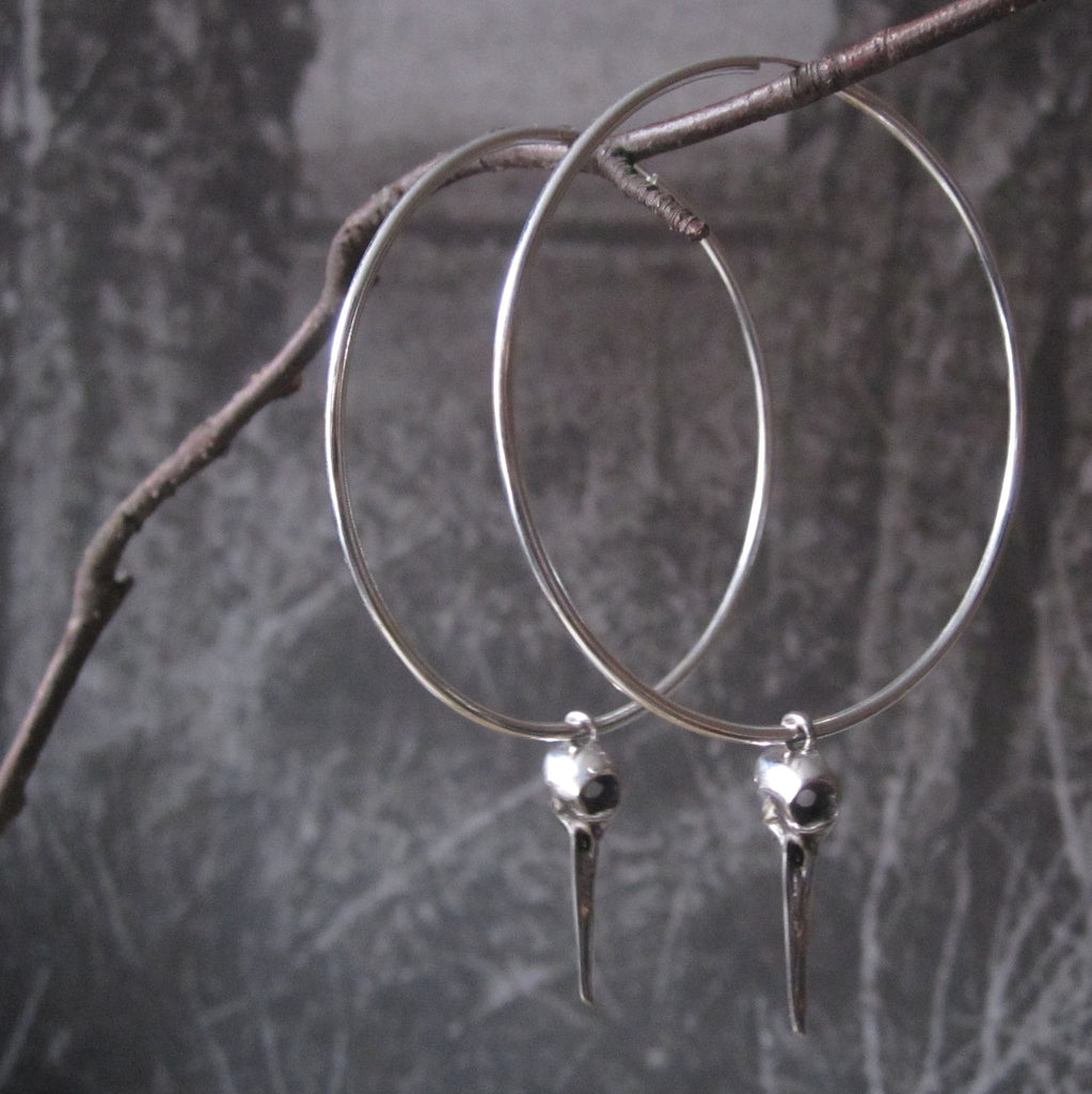CollardManson 925 Silver Bird Skull Hoop Earrings