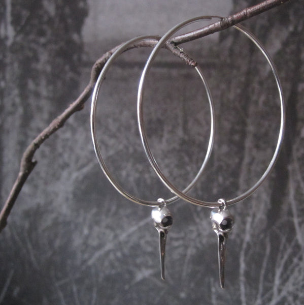 Large Silver Bird Skull Hoop Earrings