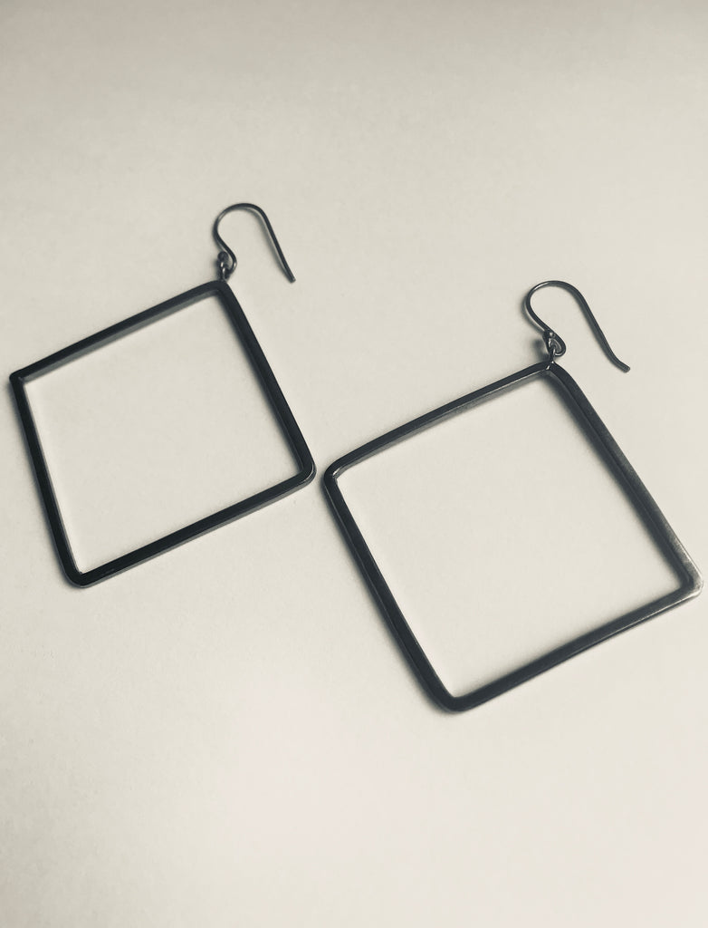Oxidised 925 Silver square drop earrings