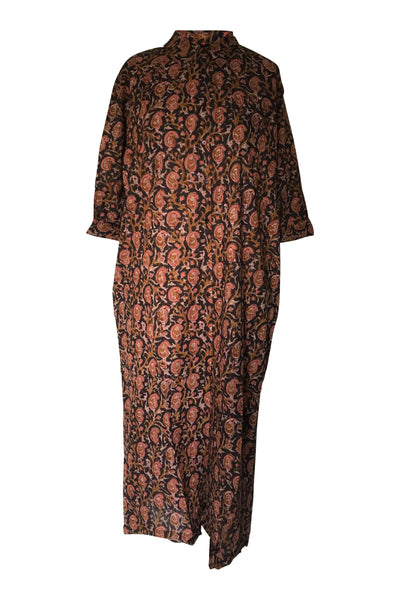 CHICOSOLEIL SAKSHI-B -ROBE LONGUE BOUTONNAGE FACE MANCHE 3/4 BOOM INDIA COTON
