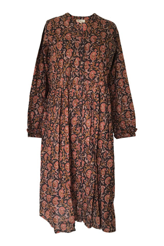CHICOSOLEIL CAMILLA-C -ROBE LONGUE BOUTONNAGE FACE AVEC MANCHE BOOM INDIA COTON