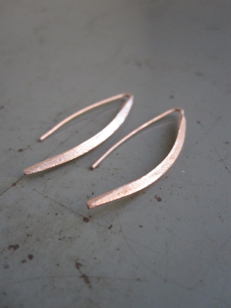 Small Curved Drop Earrings 925 silver Rose