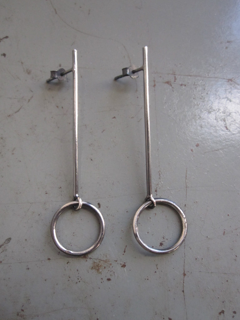 925 Silver Bar Drop with Circle Earrings