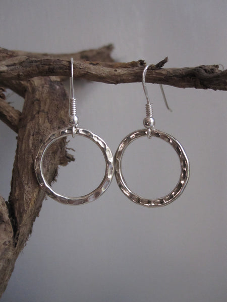 925 Silver Hammered Circle Drop Earrings