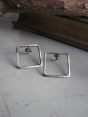 925 Silver Square Earrings