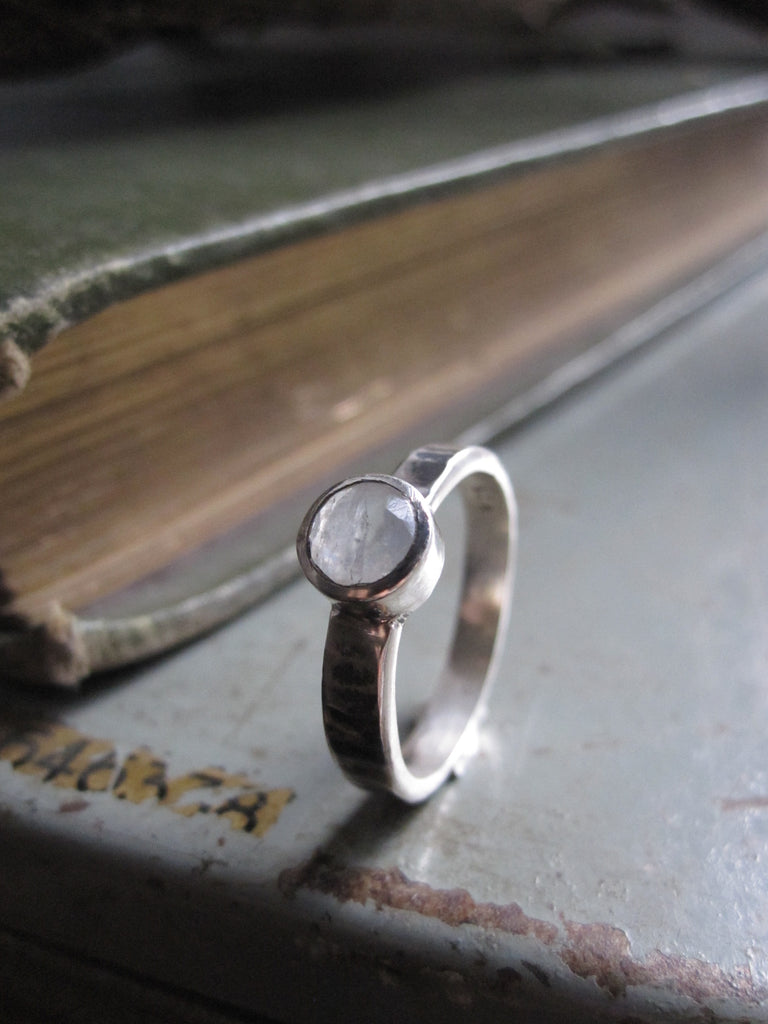 925 Silver Hammered Moonstone Ring