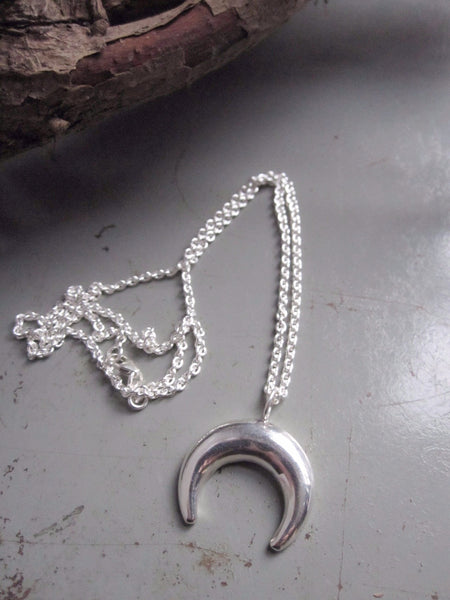 925 Silver Crescent Moon Necklace
