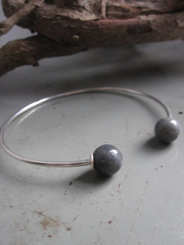 925 Silver Double Labradorite Bangle