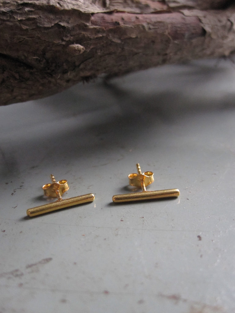 Gold plated 925 Silver Bar Earrings