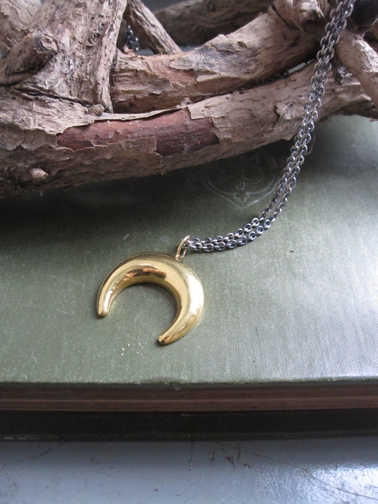 925 Silver Crescent Moon Necklace-gold