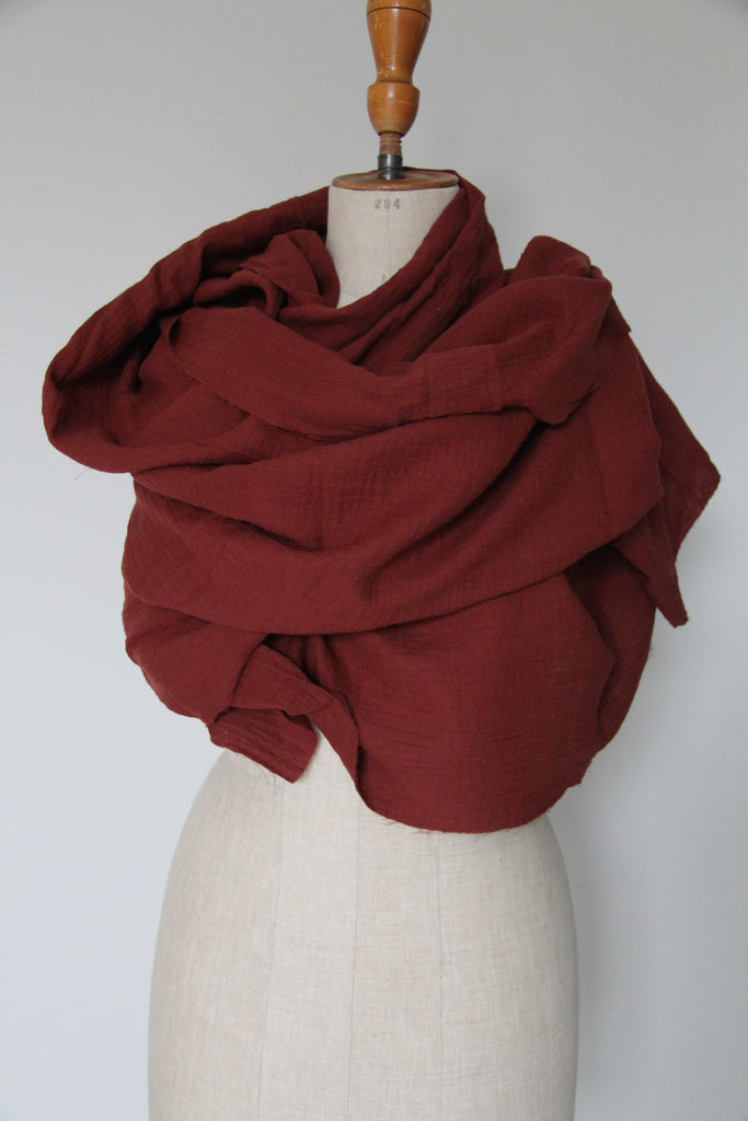 CollardManson Cotton Scarf- Red