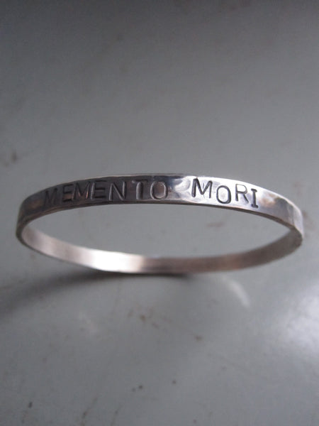 WDTS Sheffield Silver - Hand Hammered Bangle - MEMENTO MORI - Mixed Finish