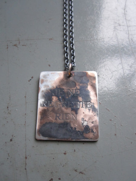 WDTS Sheffield Silver - Hand Hammered Necklace - JE NE REGRETTE RIEN