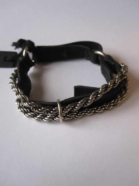 Goti 925 Oxidised Silver rope chain and leather bracelet BR1041