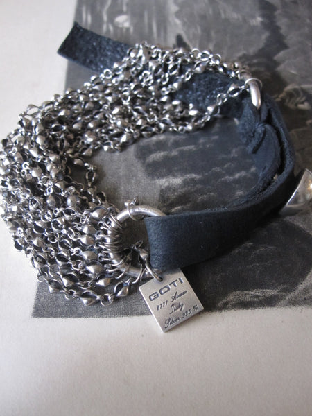 Goti 925 Oxidised Silver multi chain and leather bracelet BR989