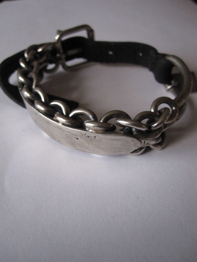 Goti 925 Oxidised Silver and leather bracelet BR521