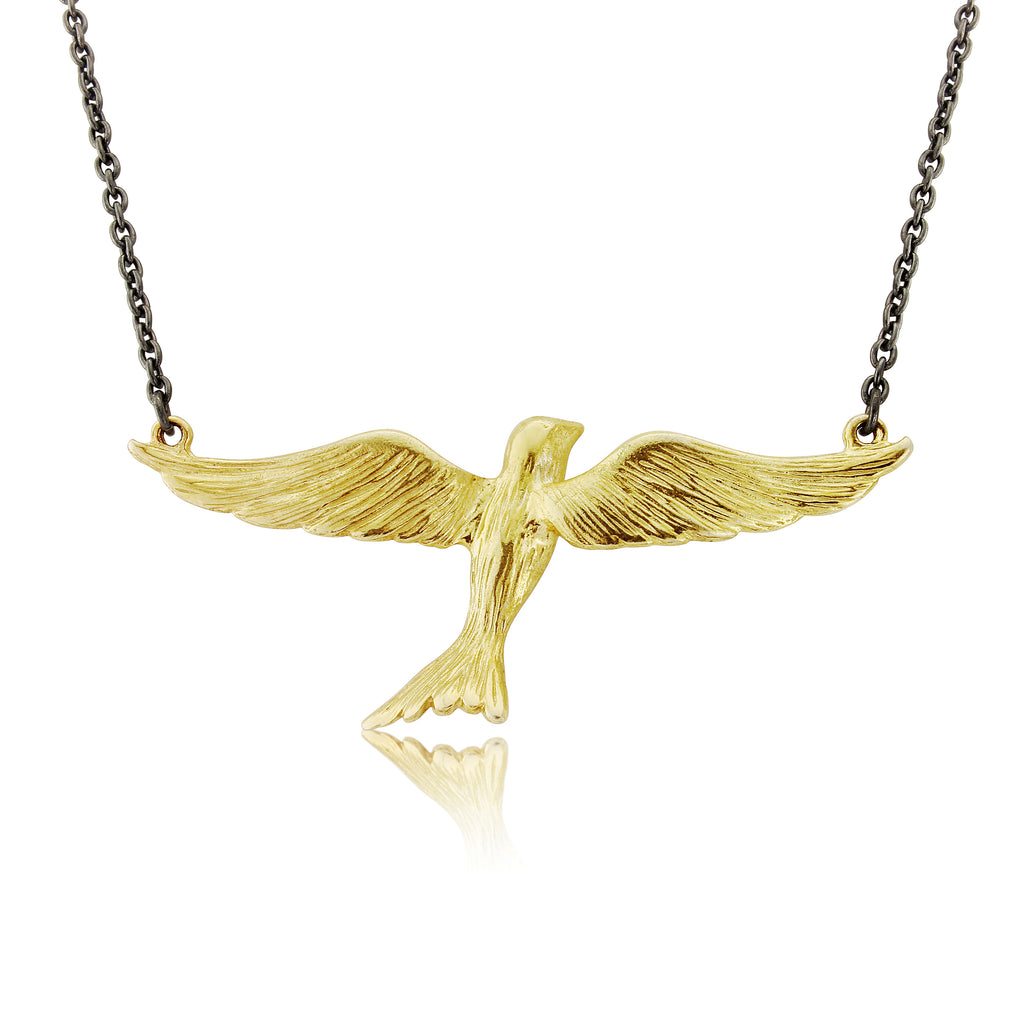 CollardManson 925 Flying Bird Necklace- Oxidised Silver/Gold Plated