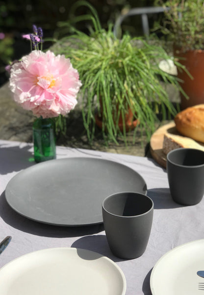PLATE, PICNIC, DARK GREY, SET OF 4 PCS.