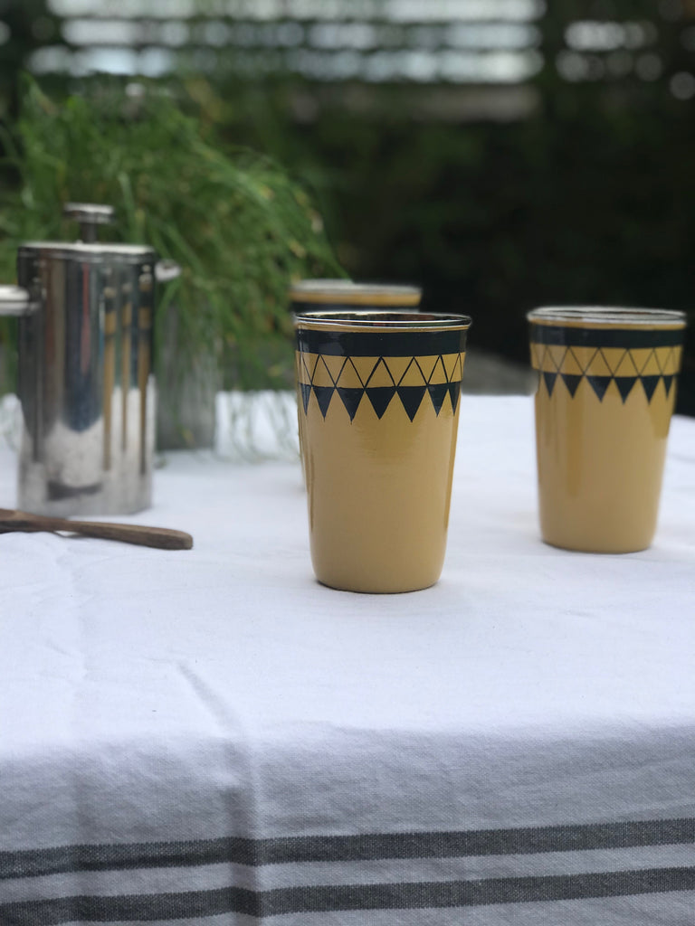 Satara Hand Painted Cup - mustard - set of 4