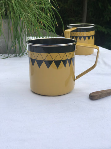 Satara Hand Painted Mug - mustard - set of 2