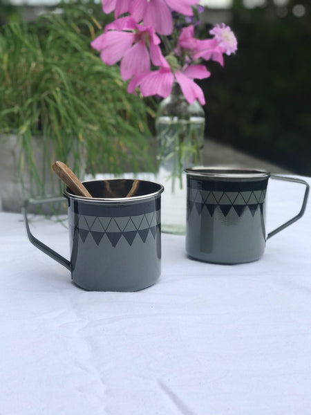 Satara Hand Painted Mug - grey - set of 2