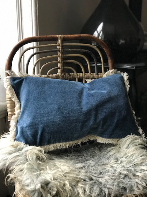Stonewashed Velvet Cushion - blue 30x50