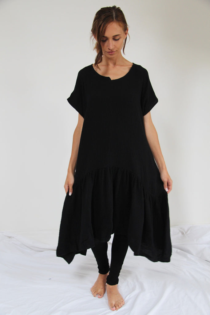 CollardManson Seam Detail Frilled Hem Dress