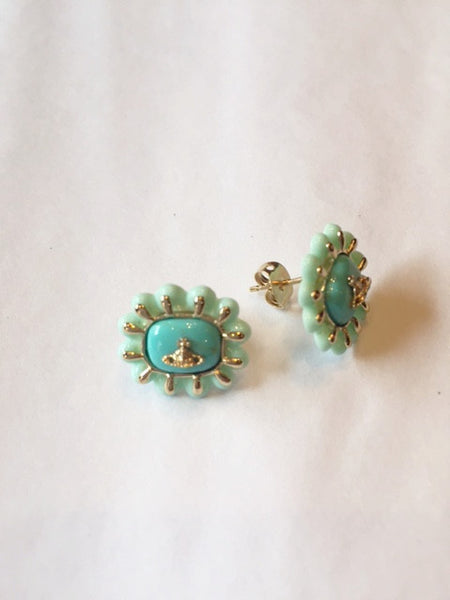 Vivienne Westwood Angeletta Earrings- gold/ turquoise
