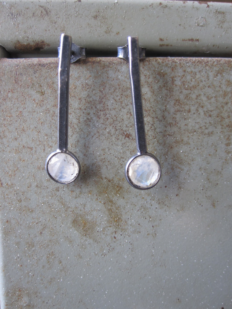 925 Oxidised Silver Stud Drop Moonstone Earrings
