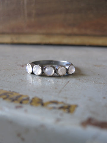 Oxidised 925 Silver 5 moonstone ring