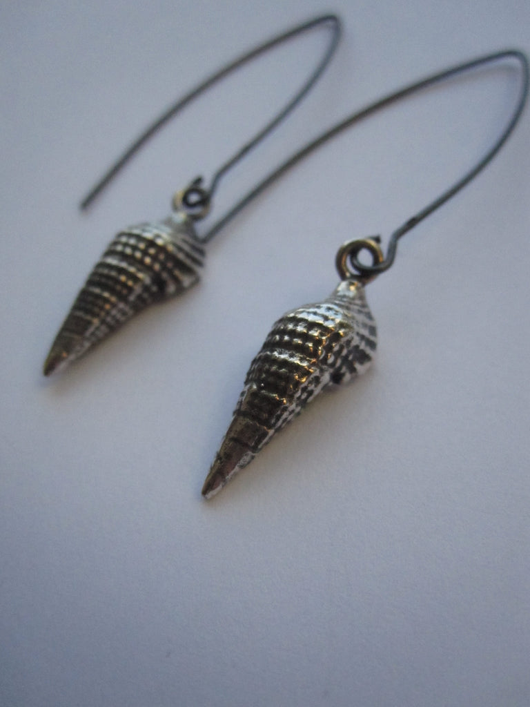 925 oxidised silver shell drop earrings