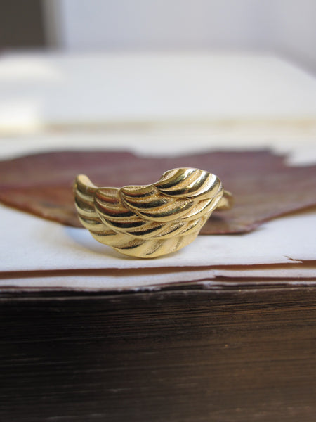 925 Silver - gold plated wing ring