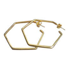 925 Silver Hexagon Earrings - Gold plated