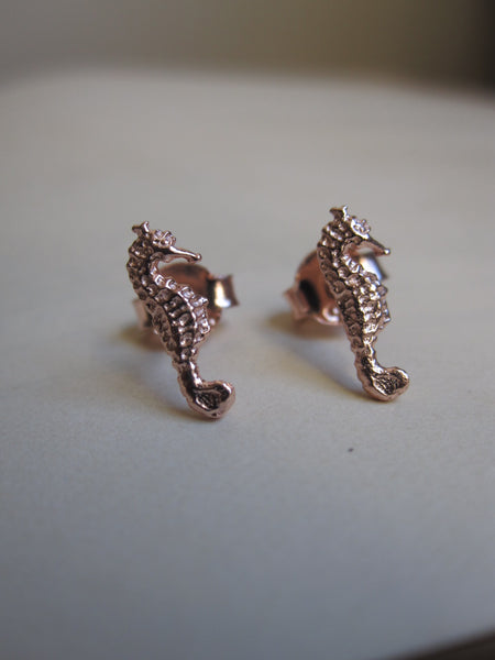 925 silver seahorse earrings - Rose