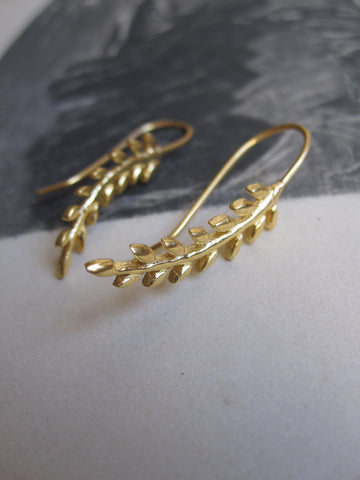 925 silver leafy drop earrings with gold plating