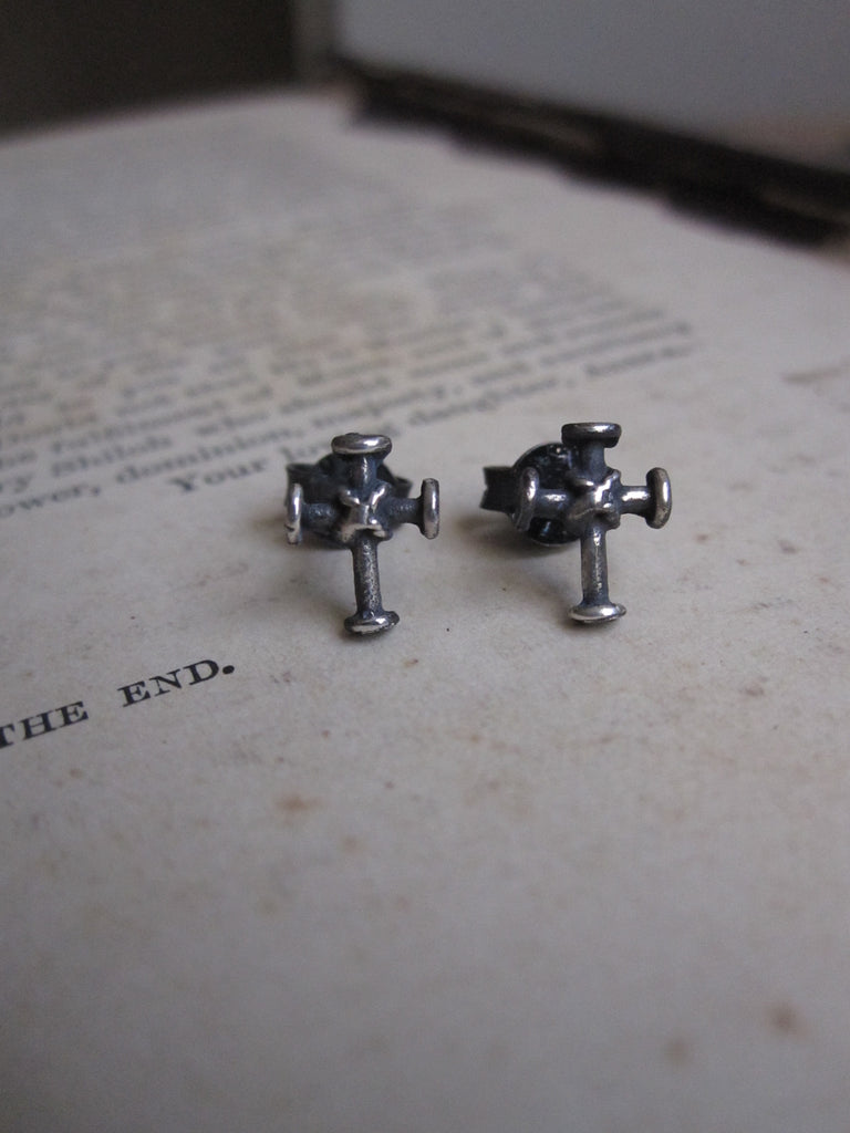 925 Silver Bound cross Studs- oxidised