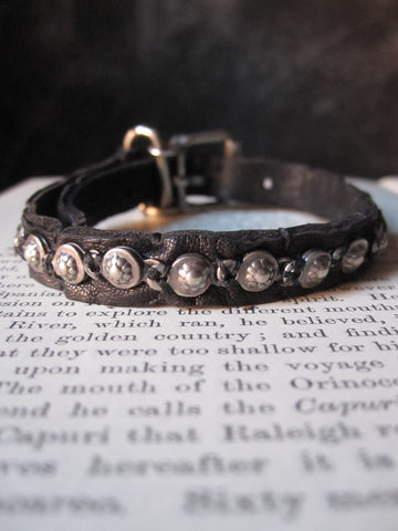 Goti leather bracelwt with 925 Oxidised Silver BR180