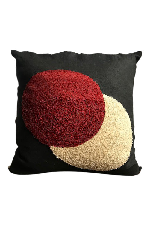 Circles embroidered cushion- black