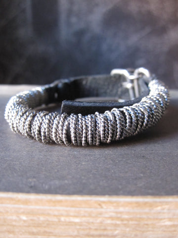 Goti leather and 925 Silver bracelet BR048