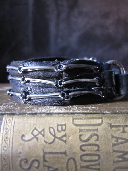 Goti bracelet with multi leather straps and 925 Silver BR173