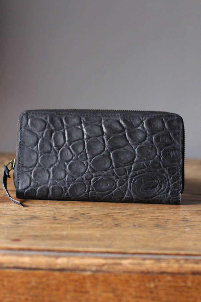 CollardManson Croc Wallet- Black