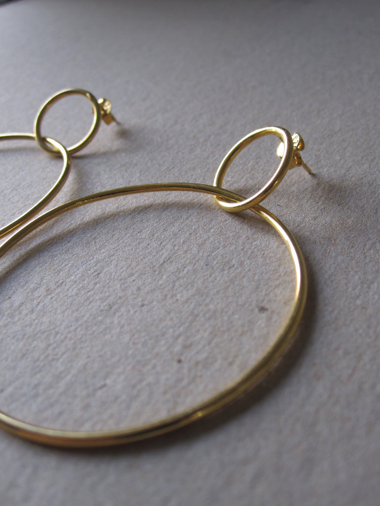 Gold plated 925 Silver Double Circle Hoop Earrings