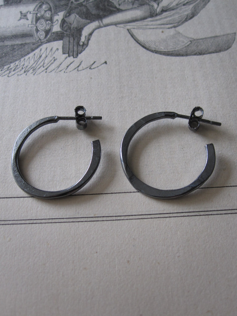 Irregular Oxidised Silver Small Hoops